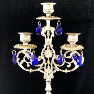 Vintage Ornate Candles Stick Holders with Crystals